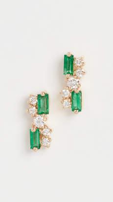 Suzanne Kalan 18k Yellow Gold Fireworks Emerald Stud Earrings