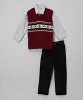 Good Lad Burgundy & Black Sweater Vest Set - Toddler