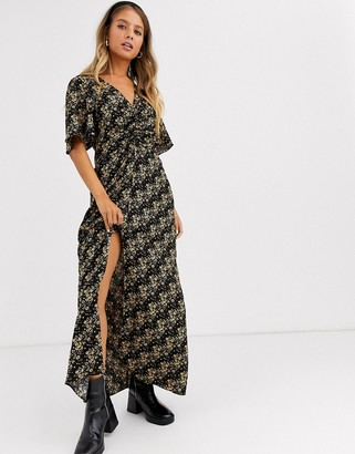 Miss Selfridge rouched midi dress in ditsy floral