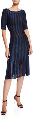 Zac Posen Striped Bateau-Neck Cocktail Dress