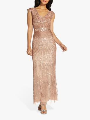Adrianna Papell Beaded Cowl Neck Maxi Gown, Rose Gold