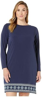 MICHAEL Michael Kors Size Casablanca Long Sleeve Border Dress (True Navy/Sea Green) Women's Clothing