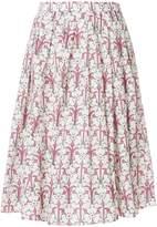 Prada pleated floral-print midi skirt
