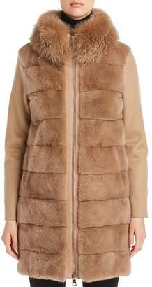 Herno Mink & Fox Fur-Trim Cashmere Coat