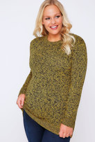 Yours Clothing Black & Yellow Longline Twist Knit Jumper