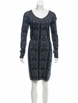 Alaia Knit Jacquard Sweater Dress Grey