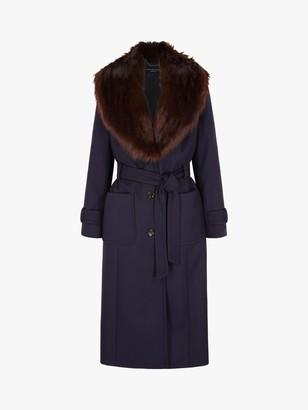 Four Seasons Faux Fur Collar Check Coat, Navy