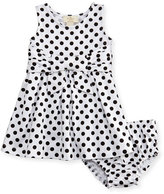 Kate Spade Jillian Sleeveless Fit-And-Flare Polka-Dot Jersey Dress, Black/White, Size 12-24 Months