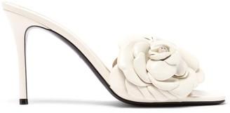 Valentino Petal-strap Leather Mules - Cream