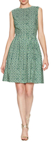 Oscar de la Renta Cotton Rose Print Fit And Flare Dress