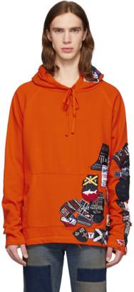 Greg Lauren Orange Paul and Shark Edition Patchwork Hoodie