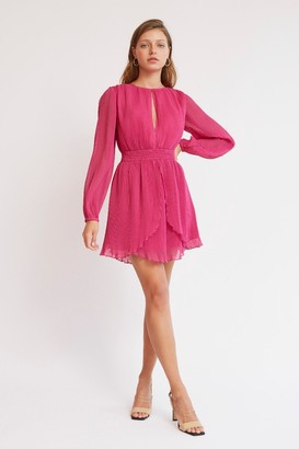 Finders Keepers BIJOU LONG SLEEVE MINI DRESS Fuchsia
