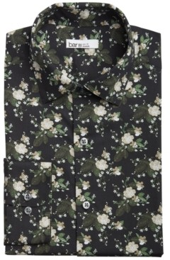 Bar III Men's Slim-Fit Performance Stretch Painted Poppy-Print Dress Shirt, Created for Macy's