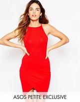 Asos 90s Asymmetric Body-Conscious Dress with High Neck
