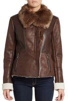 T Tahari Ava Faux Fur-Trimmed Moto Jacket