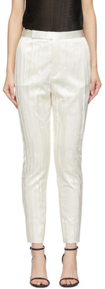 Saint Laurent White Silk Striped Satin Trousers