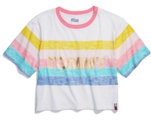 Tommy Hilfiger Adaptive Women's Rainbow Cropped T-Shirt with Wide Neck Opening
