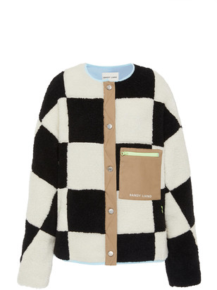 Sandy Liang Pawn Oversized Checked Fleece Jacket
