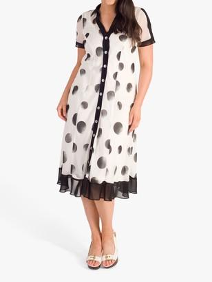 Chesca chesca Ombre Spot Shirt Dress, Ivory/Black