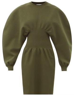 Bottega Veneta Round-shoulder Wool-blend Knitted Dress - Dark Green