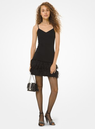 MICHAEL Michael Kors Feather-Embroidered Matte Jersey Slip Dress