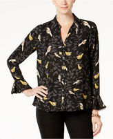 Charter Club Bird-Print Blouse, Created for Macy's