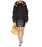 McQ by Alexander McQueen Fur-trimmed satin-twill bomber jacket