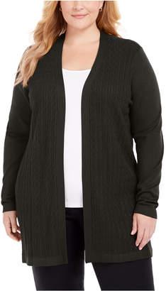 Karen Scott Plus Size Open-Front Cable-Knit Cardigan