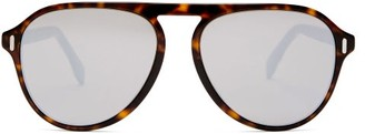 Fendi Mirrored Tortoiseshell-acetate Aviator Sunglasses - Mens - Tortoiseshell