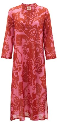 Le Sirenuse Le Sirenuse, Positano - Giada Paisley-print Cotton Midi Dress - Womens - Pink Print