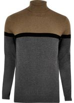 River Island Grey Colour Block Roll Neck Jumper