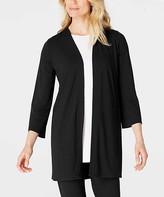 J. Jill J.Jill Women's Non-Denim Casual Jackets BLACK - Black Pleated-Back Wrinkle-Free Open Cardigan - Women