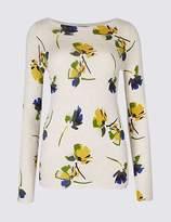 Marks and Spencer PETITE Floral Print Slash Neck Jumper