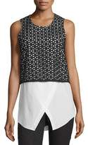 Derek Lam 10 Crosby Cotton Eyelet Combo Tank, Black