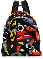 Fendi Shearling & Fur Patchwork Monster Backpack, Multi Colors