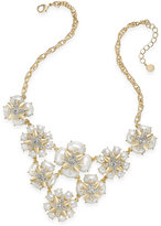 Charter Club Gold-Tone Cubic Zirconia & Imitation Pearl Flower Statement Necklace, Only at Macy's