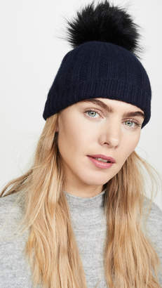 White + Warren Wide Rib Cashmere Beanie With Pom Pom
