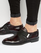 Asos Oxford Shoes In Burgundy Leather With Strap Detail