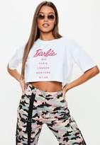Missguided Barbie x White Barbie City Printed Crop Top