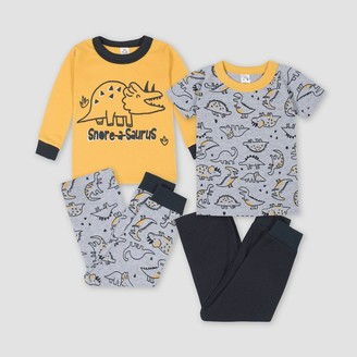 Gerber Toddler Boys' 4pc Dino Pajama Set - Yellow/Gray