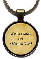 "Elysian Workshop Alice in Wonderland ""Why is a raven like a writing desk?"" Keychain Key Ring (Antique Bronze)"