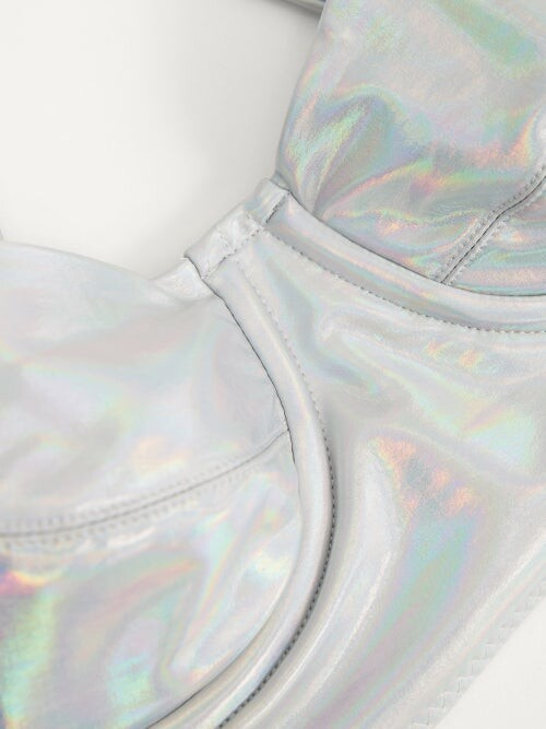 Thumbnail for your product : Norma Kamali Iridescent Underwired Bikini Top - Silver