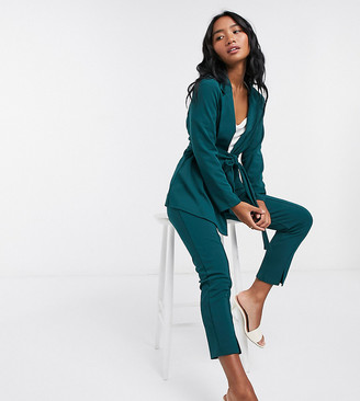 ASOS DESIGN Petite jersey wrap suit blazer in forest green