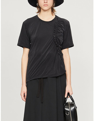 Y's Ys Gathered relaxed-fit crepe T-shirt