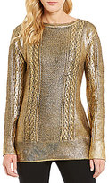 Daniel Cremieux Dex Crew Neck Metallic Knit Sweater