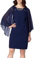 Tahari Cape Sleeve Shift Dress