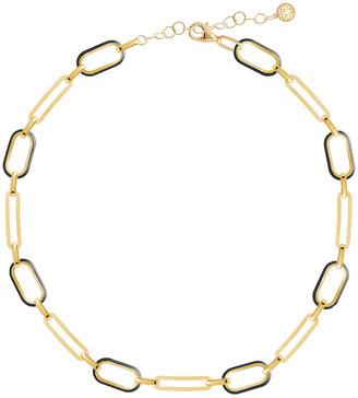 GABIRIELLE JEWELRY 14K Over Silver Enamel Box Link Choker Necklace