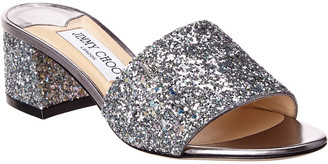 Jimmy Choo Minea 45 Glitter Leather Mule