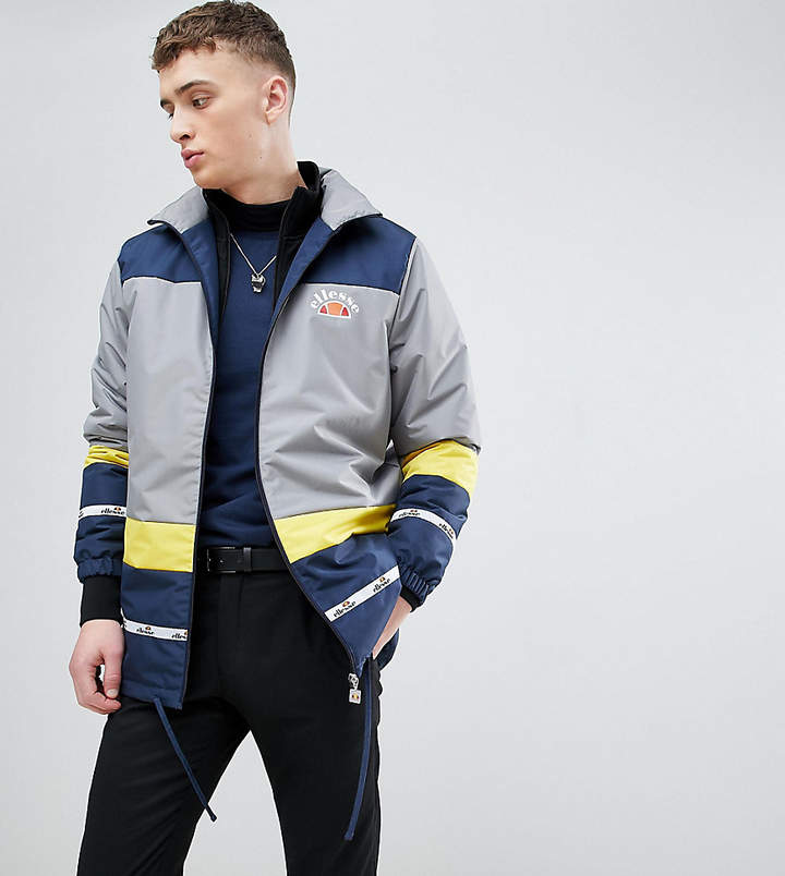Ellesse Color Block Track Jacket With Back Panel Print In Blue