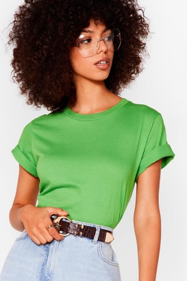 Nasty Gal Womens Face the Facts Relaxed Tee - Green